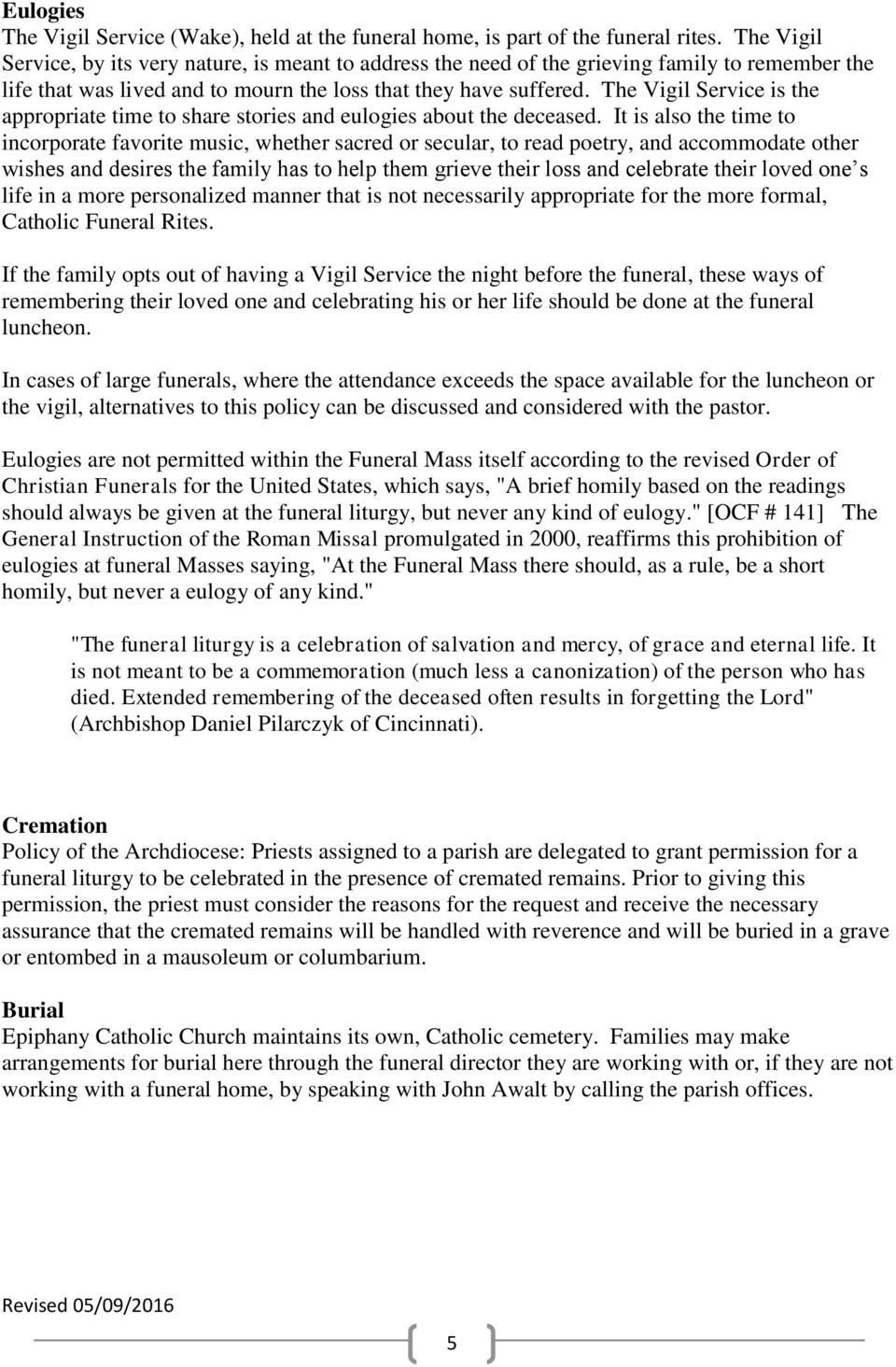 Funeral Procedures and Protocol for Epiphany Catholic Church - PDF