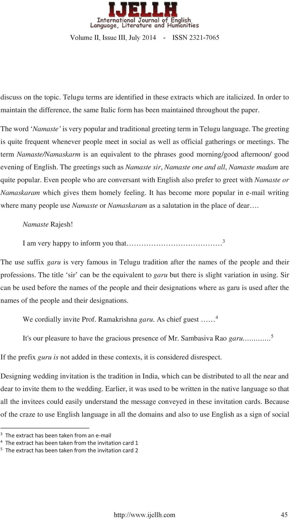 Intelligibility In The Use Of Telugu Terms And Phrases In English