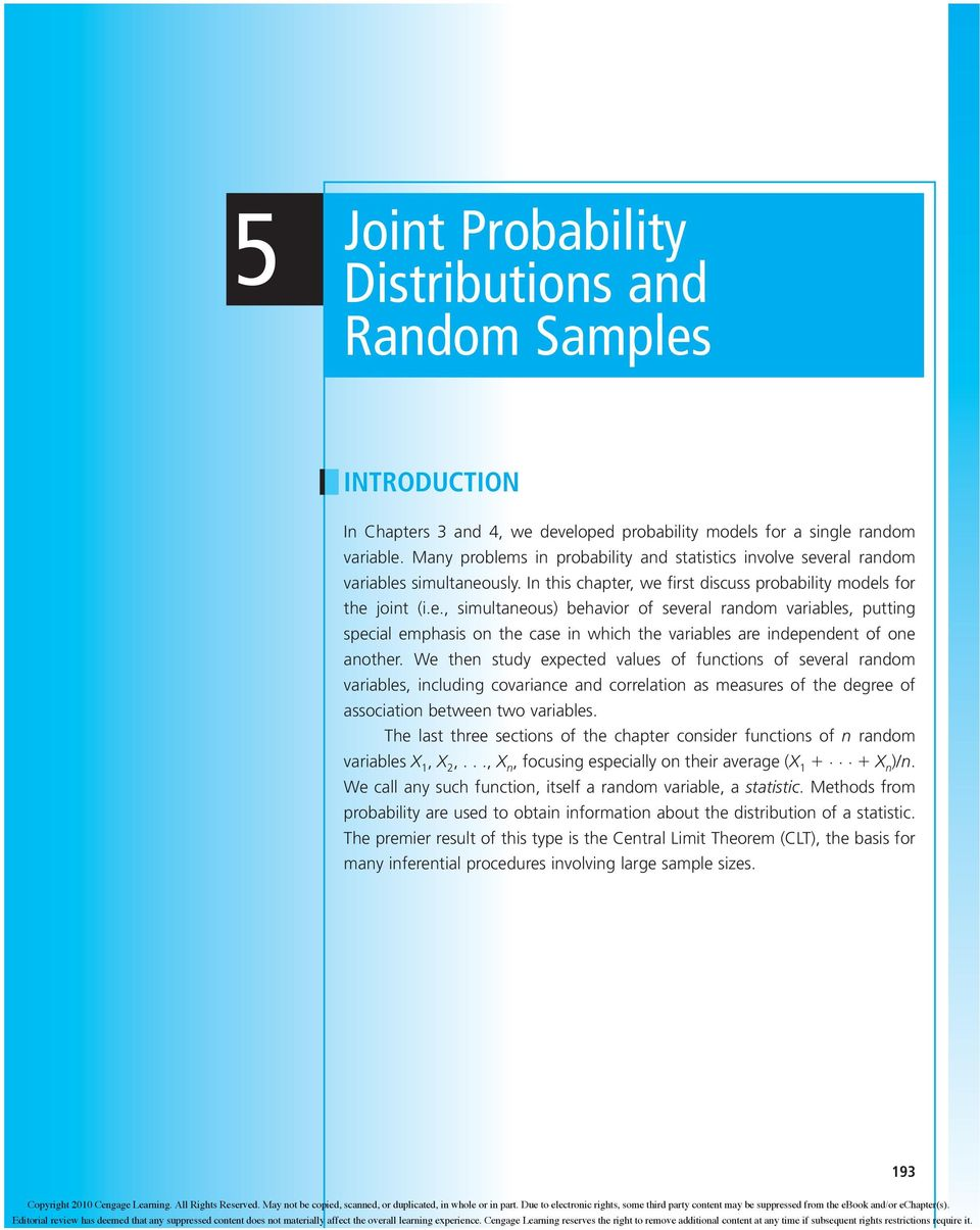 Joint Probability Distributions and Random Samples - PDF