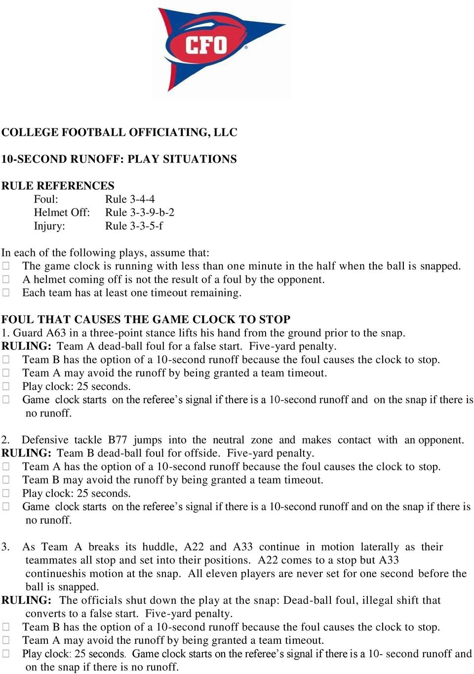 COLLEGE FOOTBALL OFFICIATING, LLC 10-SECOND RUNOFF: PLAY