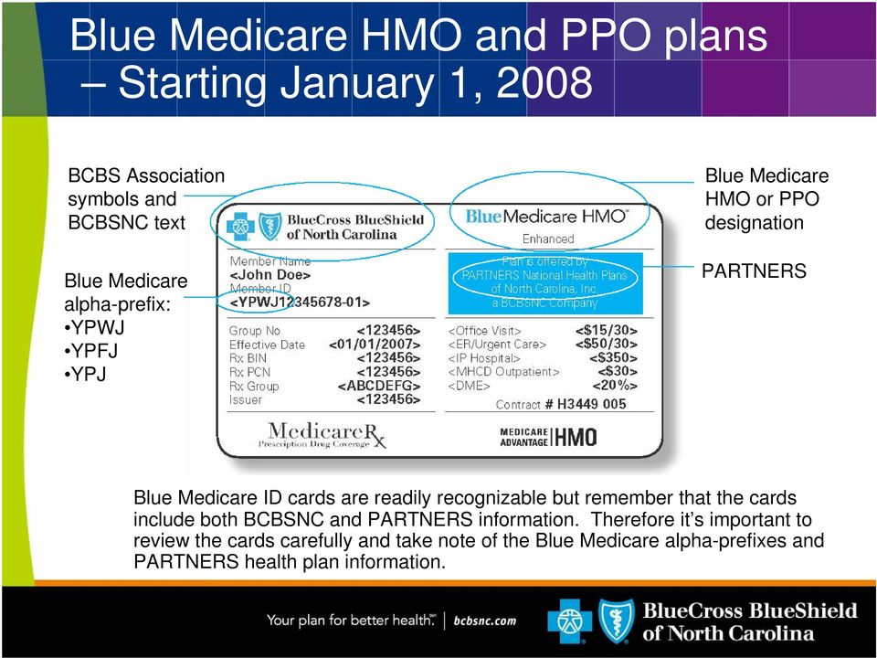 recognizable but remember that the cards include both bcbsnc and partners information