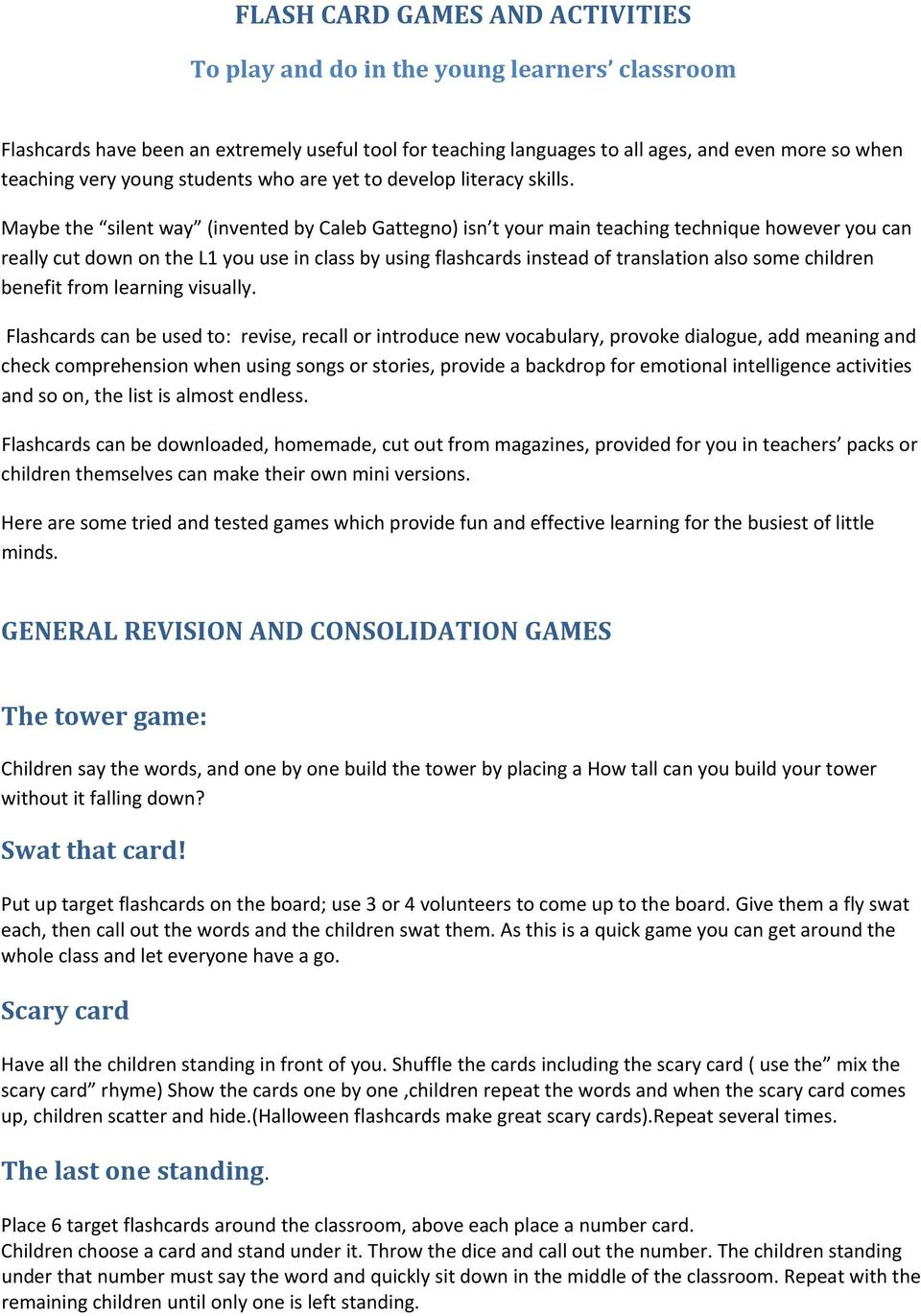 Flashcard games and activities CONNIE HATWELL - PDF