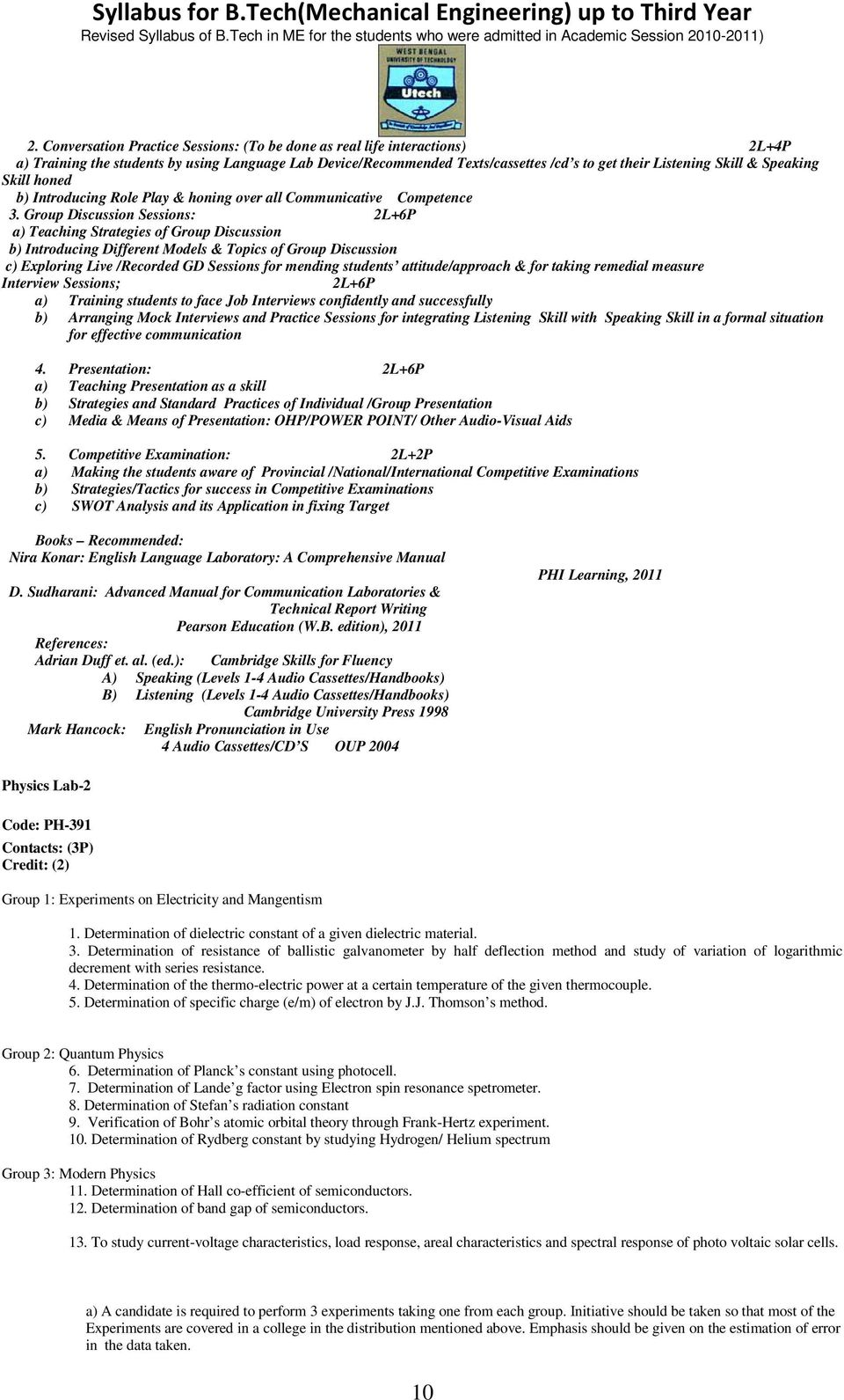 Syllabus for B Tech(Mechanical Engineering) up to Third Year