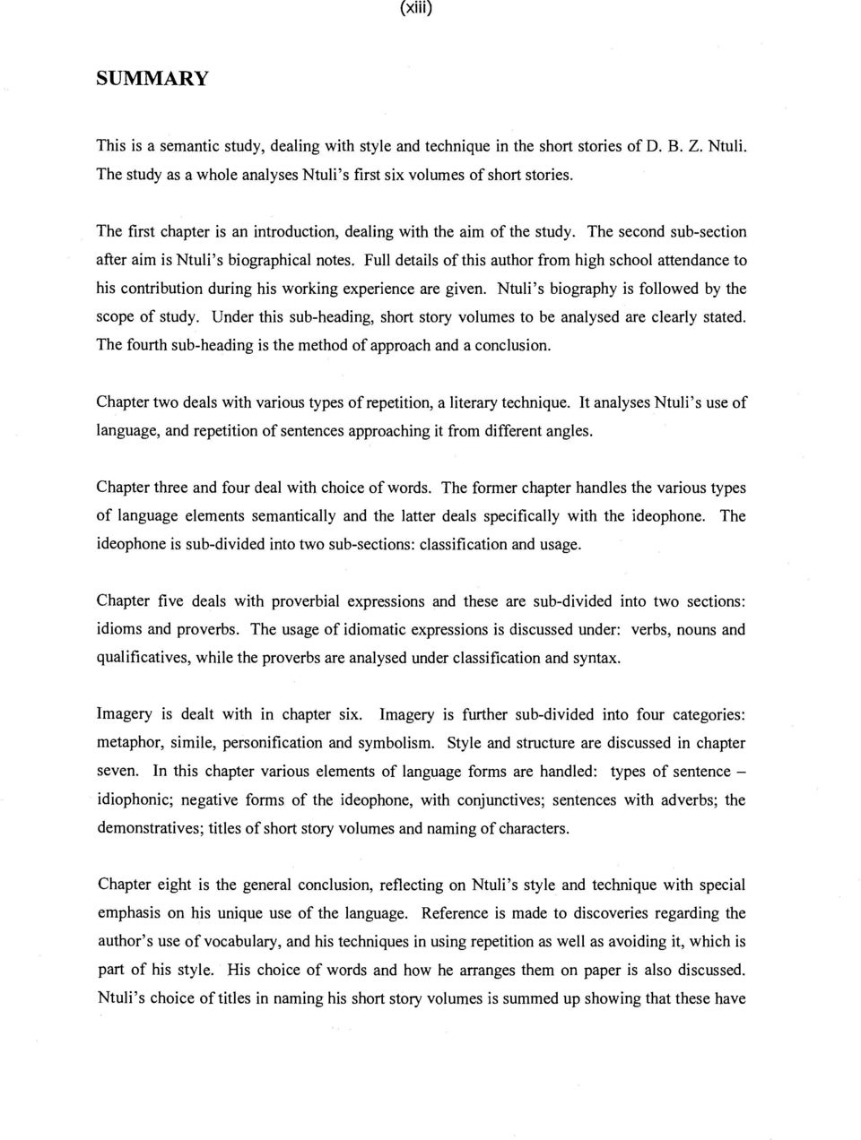 Stylistic Techniques In The Short Stories Of Dbz Ntuli Pdf