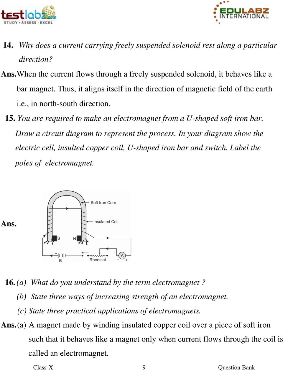 Electromagnet Circuit Diagram | Question Bank 1 Electromagnetism 2 Magnetic Effects Of An