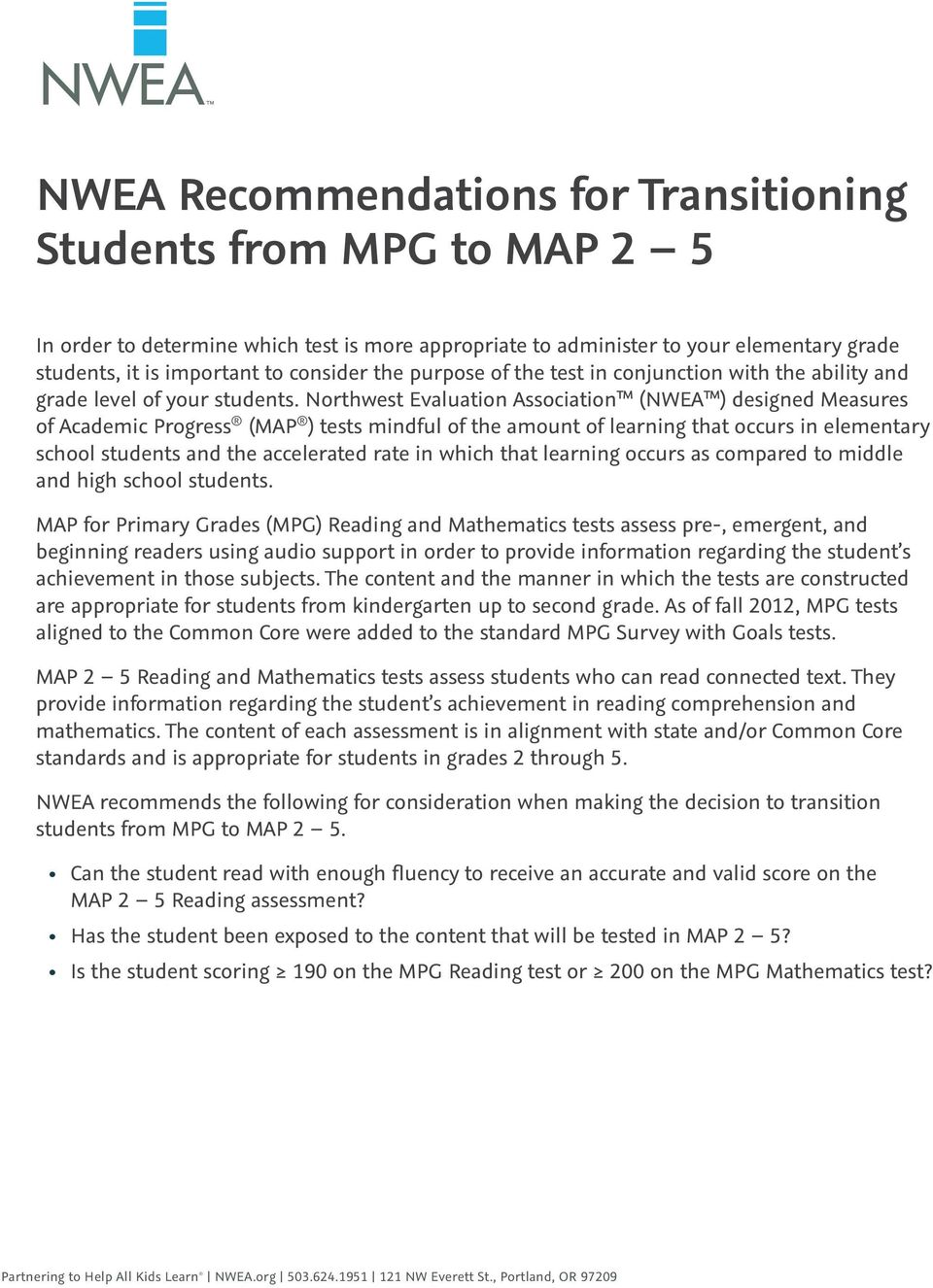 NWEA Recommendations for Transitioning Students from MPG to