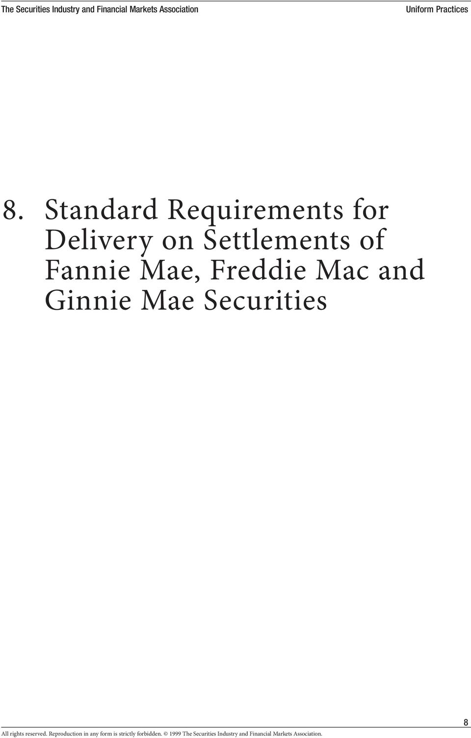 8 Standard Requirements For Delivery On Settlements Of Fannie Mae