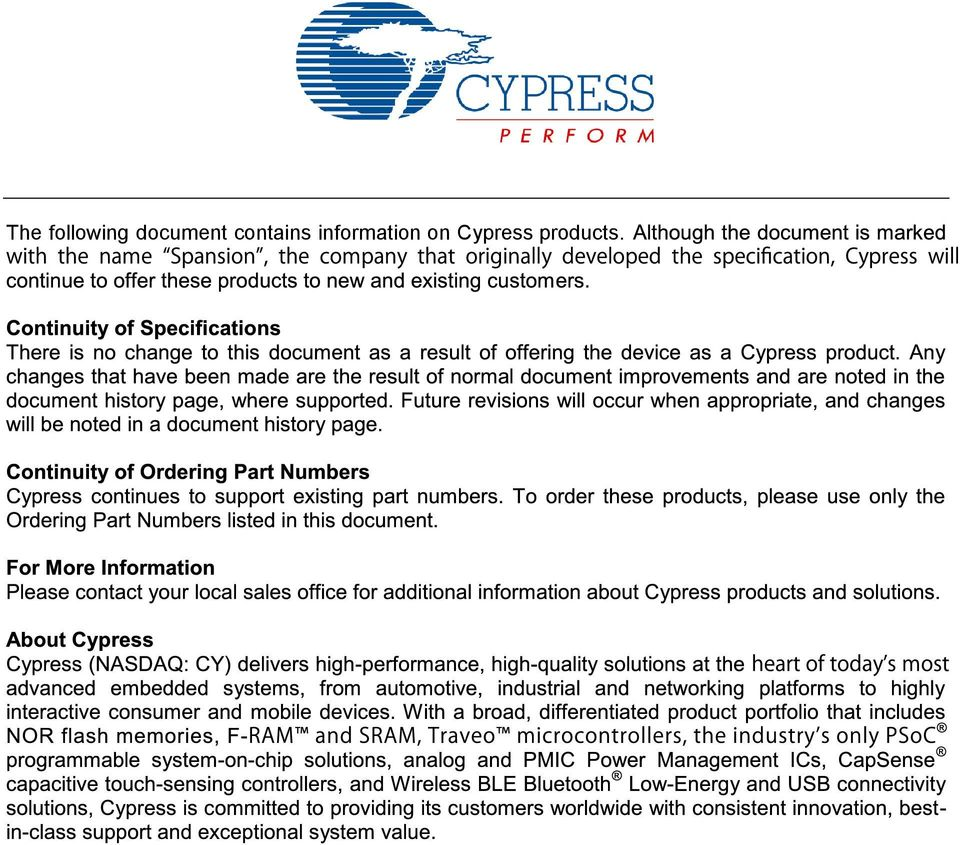 The following document contains information on Cypress