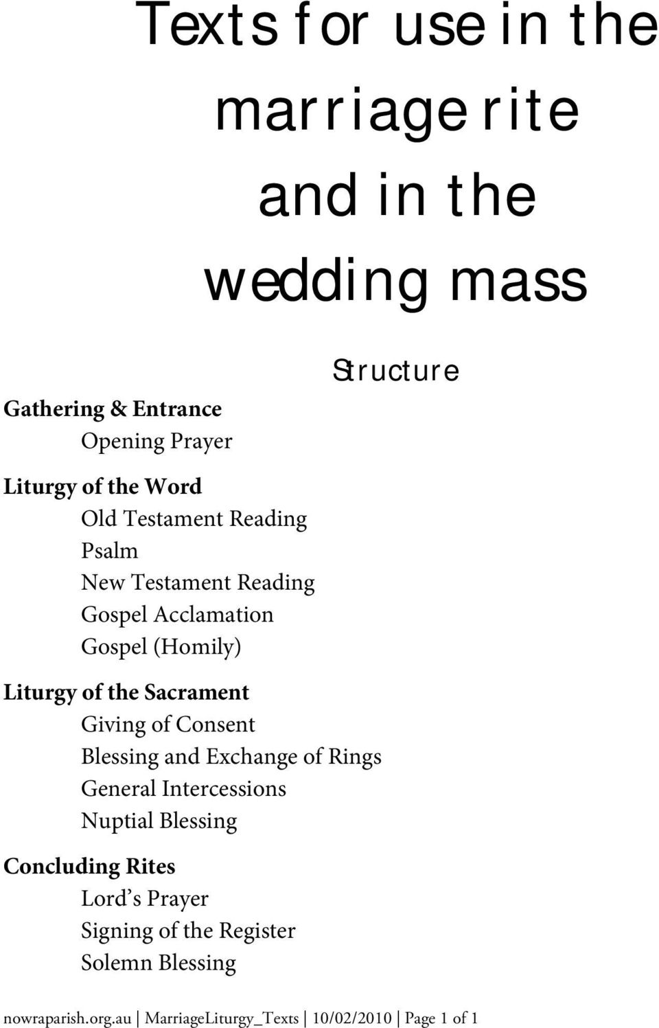 Wedding Homily Definition