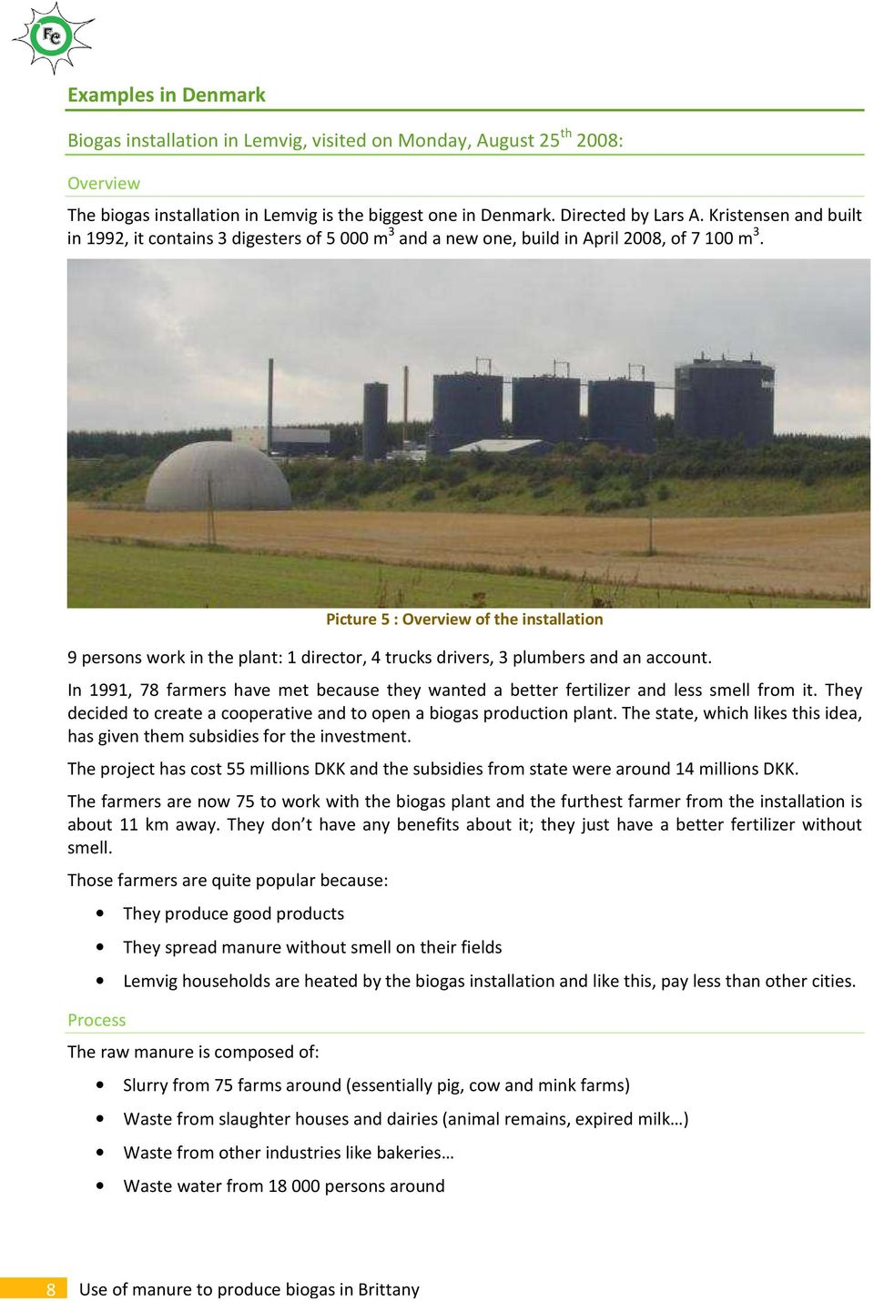 Use of manure to produce biogas in Brittany  Waste for