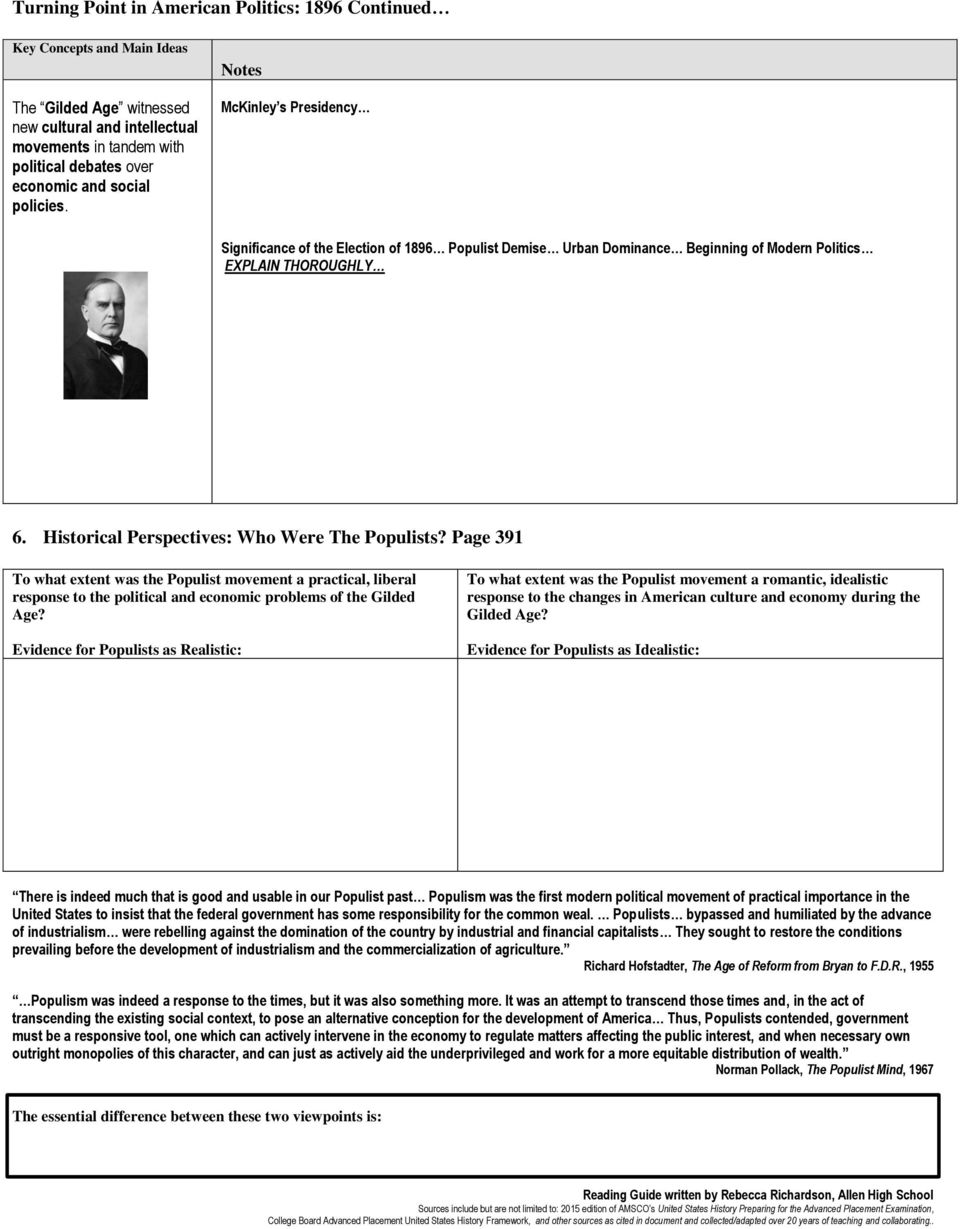 Guided Reading & Analysis: The Politics of the Gilded Age