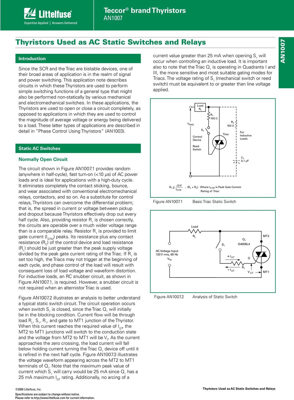 Teccor Brand Thyristors An Pdf Triac Applications And Electromechanical Switches