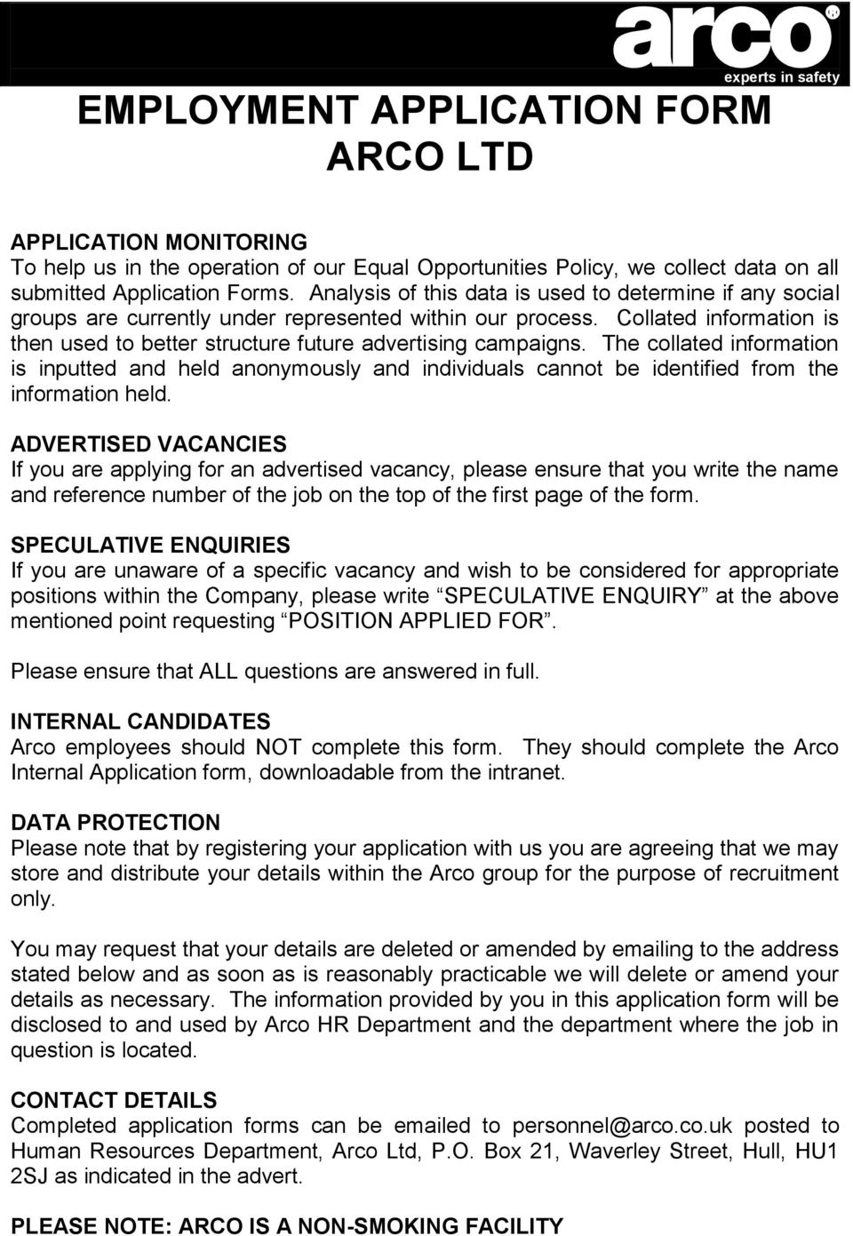experts in safety employment application form arco ltd pdf