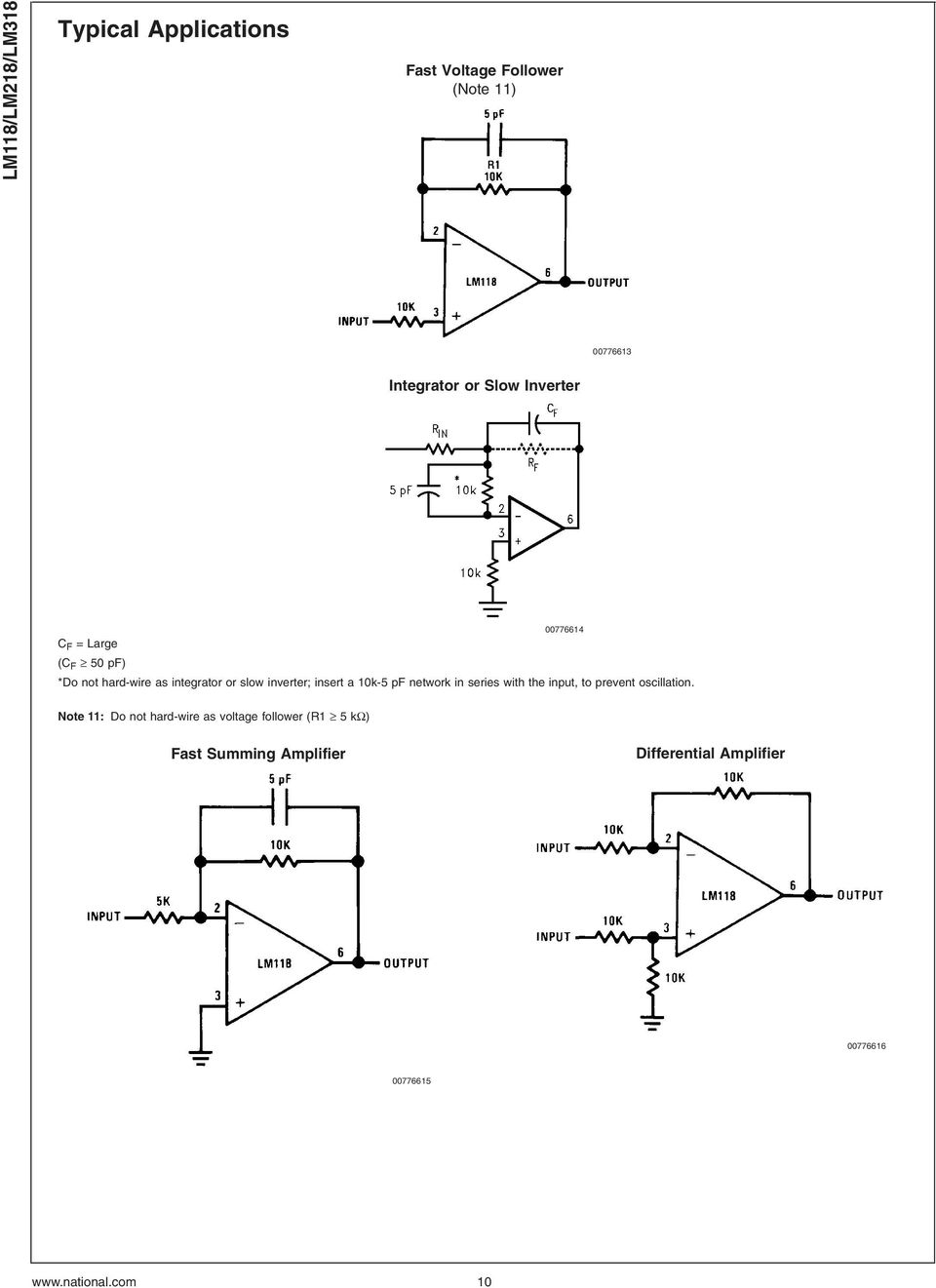 Lm118 Lm218 Lm318 Operational Amplifiers Pdf 741 Amplifier Circuit 10k 5 Pf Network In Series With The Input To Prevent Oscillation