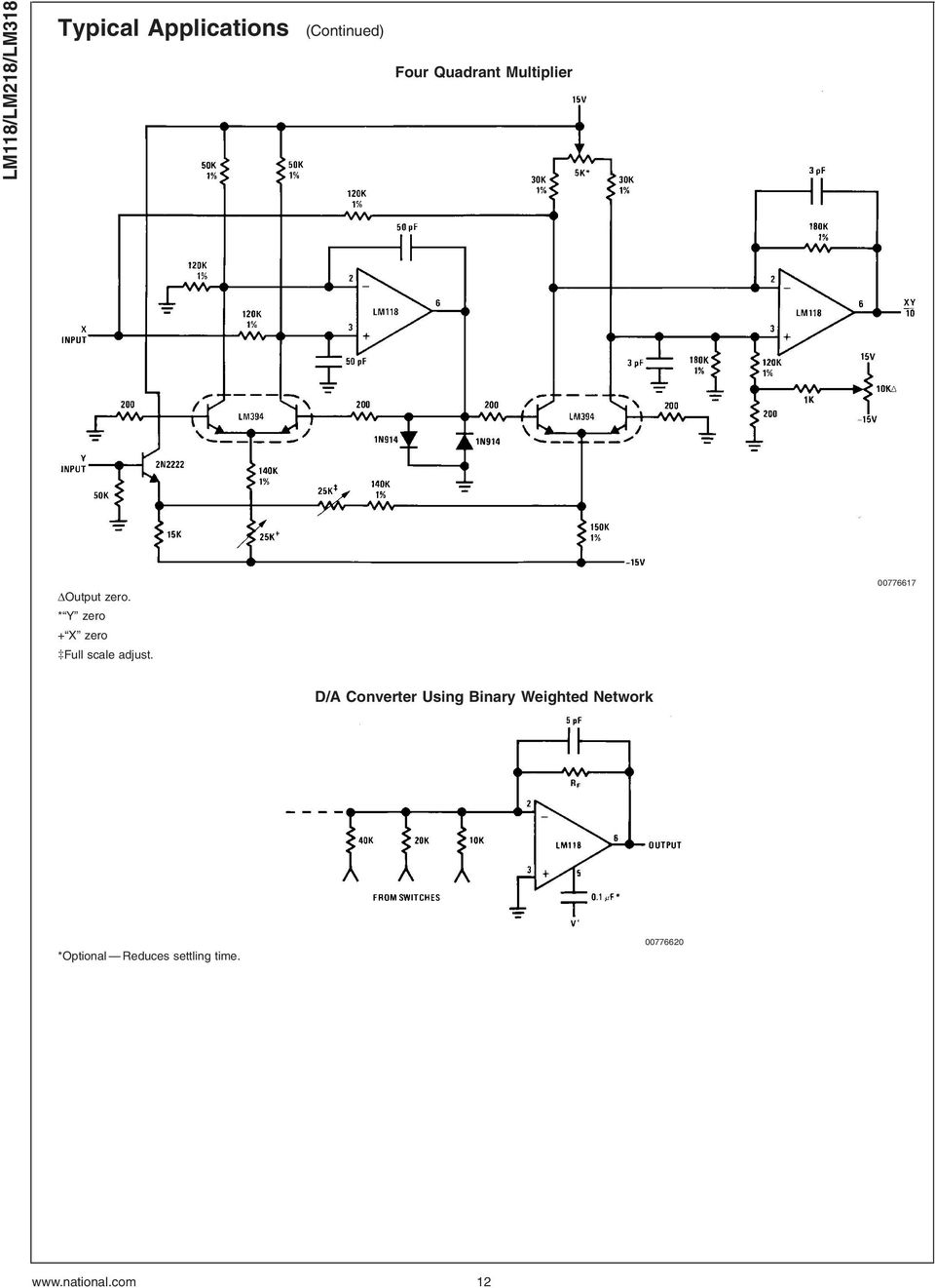 Lm118 Lm218 Lm318 Operational Amplifiers Pdf Lm412 Sample And Hold Y Zero X Full Scale Adjust