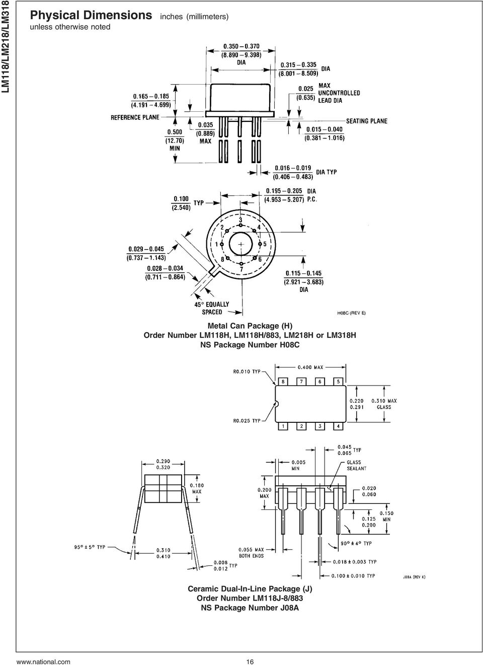 Lm118 Lm218 Lm318 Operational Amplifiers Pdf Stereo Audio Power Amplifier Schematic Circuit Diagram Using Lm4992 Lm118h 883 Lm218h Or Lm318h Ns Package Number H08c Ceramic