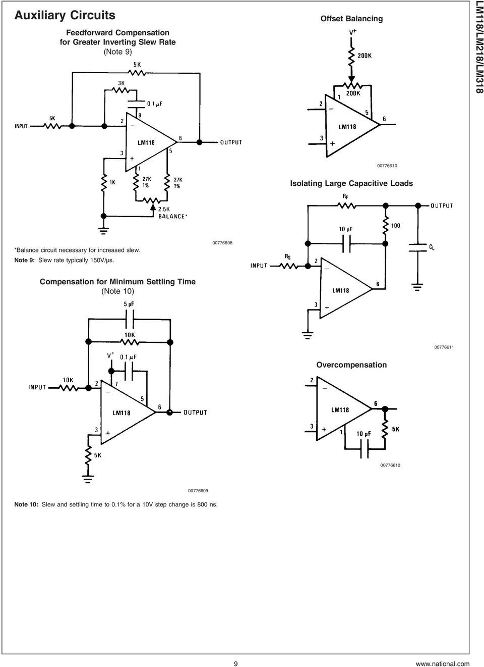 Lm118 Lm218 Lm318 Operational Amplifiers Pdf Summing Amplifier Inverting Adder Circuit Using Op Amp 741 Pictures Note 9 Slew Rate Typically 150v S