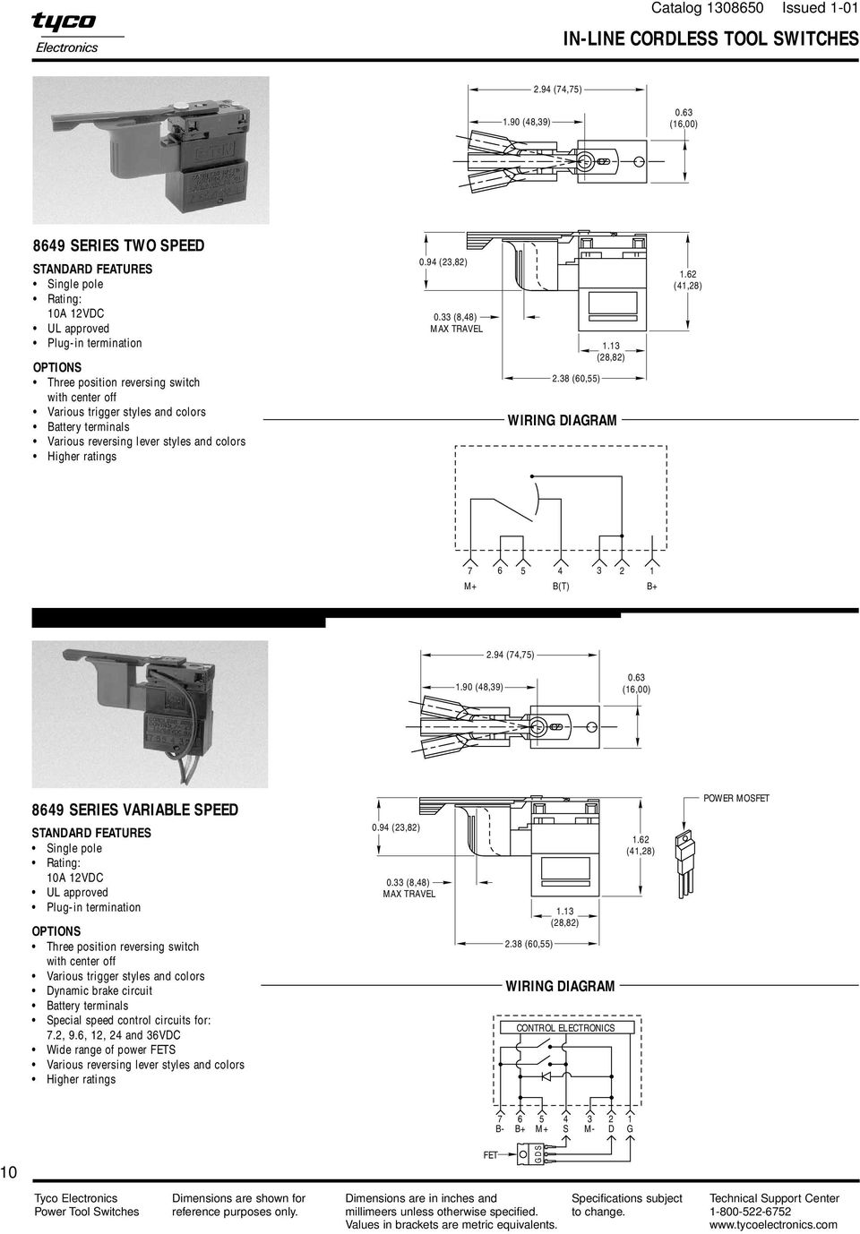 Power Tool Switches Catalog Issued Pdf 3 Phase Reversing Motor Wiring Diagram Single Pole Double Throw A Using 33 848 Max Travel 238 6055 113
