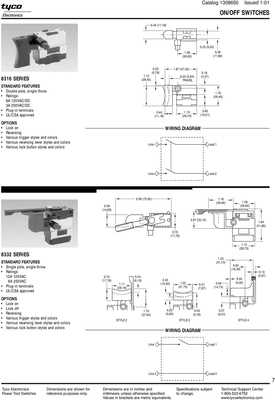 Power Tool Switches Catalog Issued Pdf Single Pole Double Throw Limit Switch Wiring Diagram 87 4750 023 584 Travel 113 28