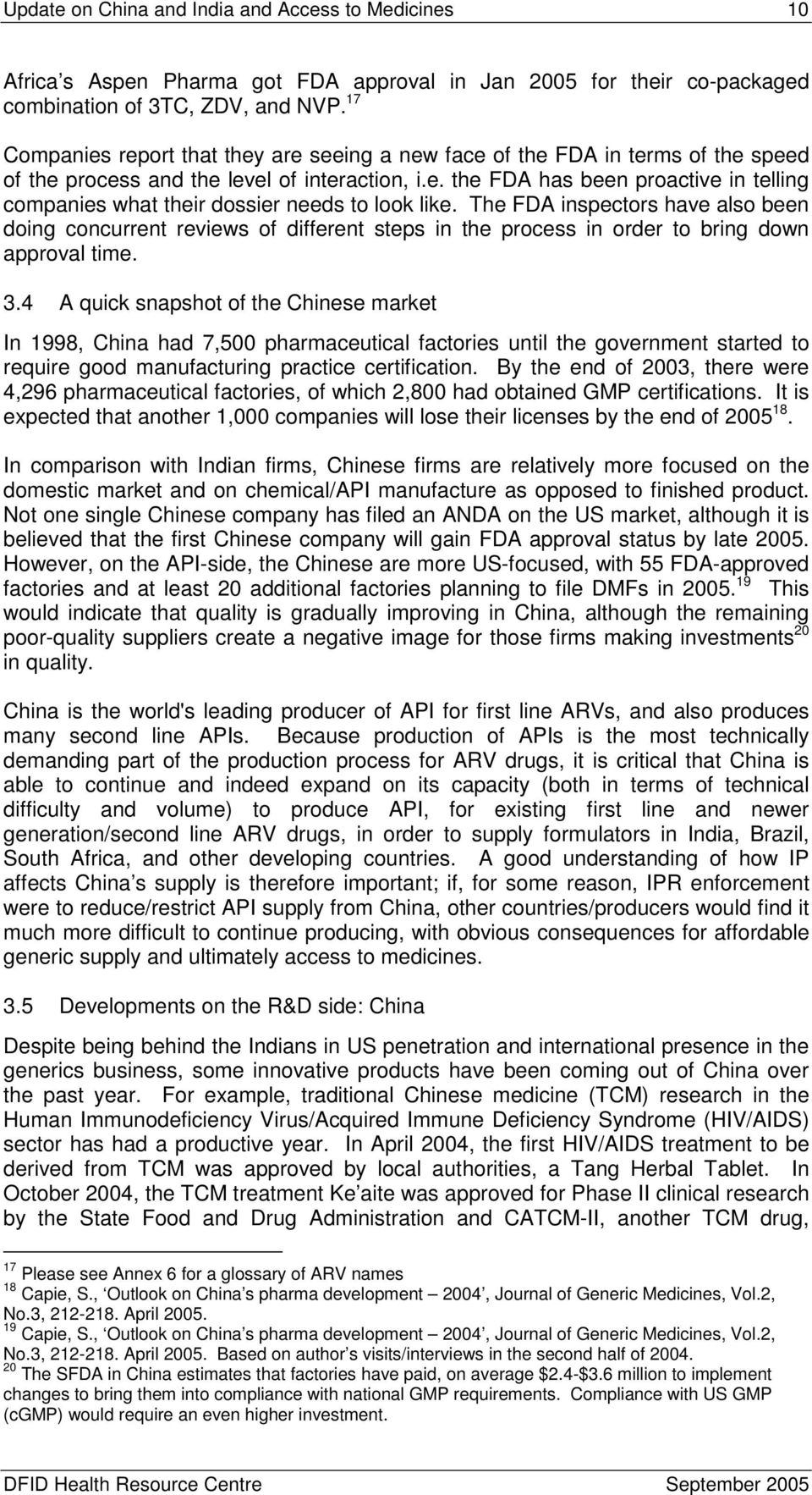 A Briefing Paper for DFID: Update on China and India and