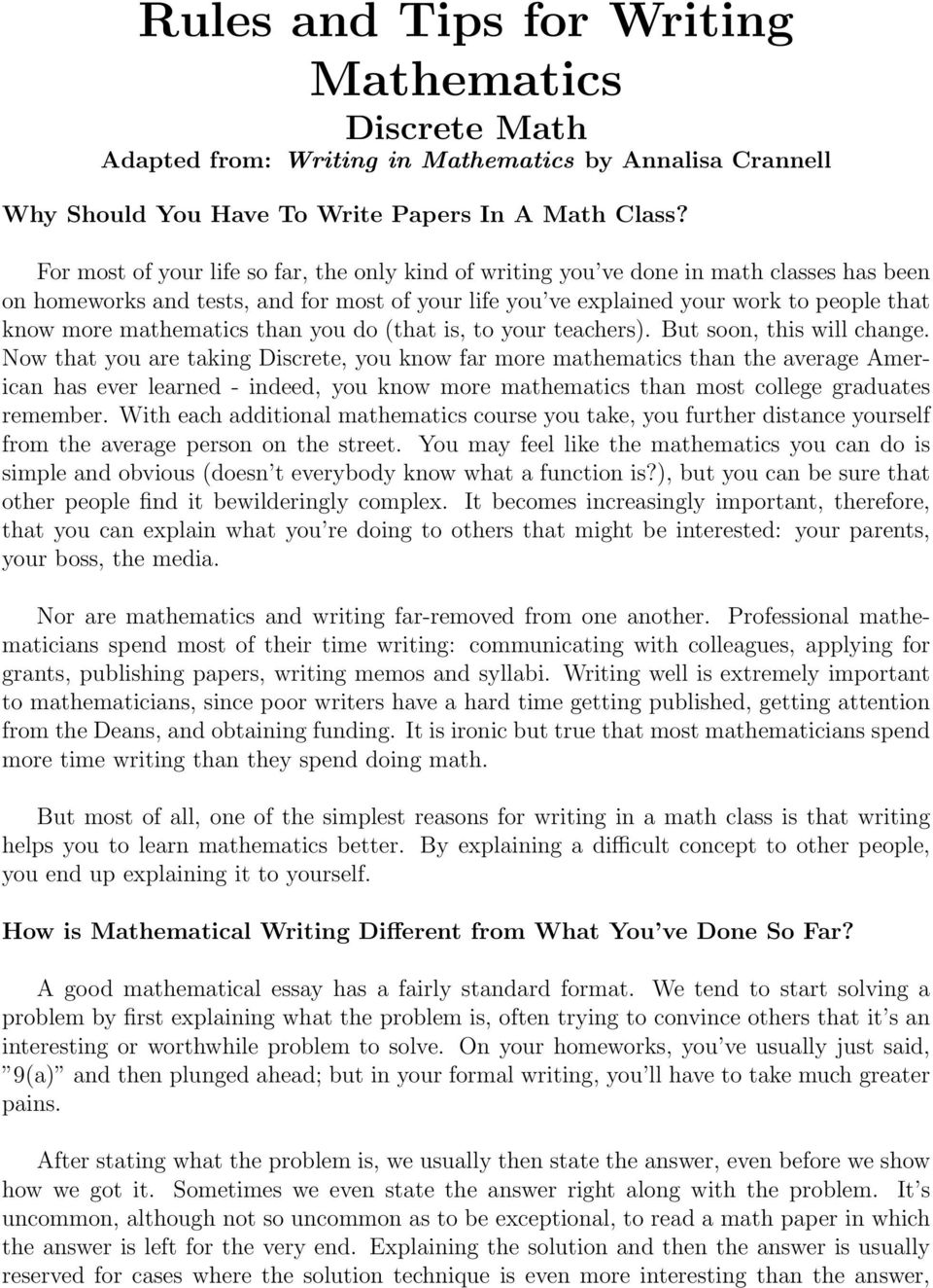 Process Essay Thesis Mathematics Than You Do That Is To Your Teachers But Soon Sample High School Admission Essays also Personal Essay Examples High School Rules And Tips For Writing Mathematics Discrete Math  Pdf Analysis And Synthesis Essay