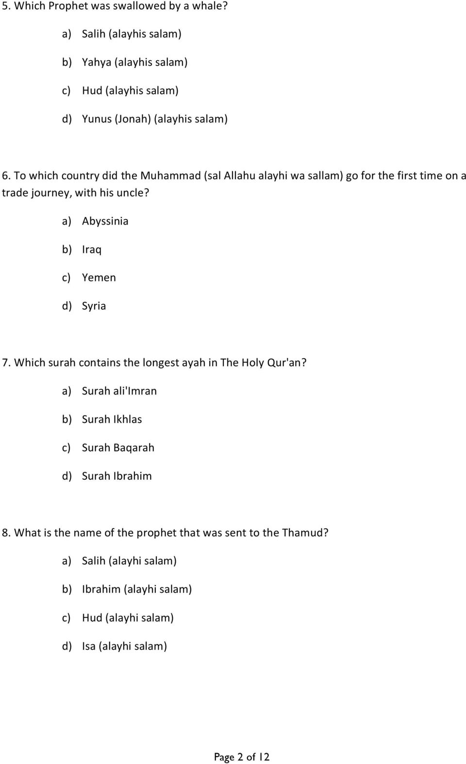 GAME DAY ISLAMIC QUIZ QUESTIONS! - PDF