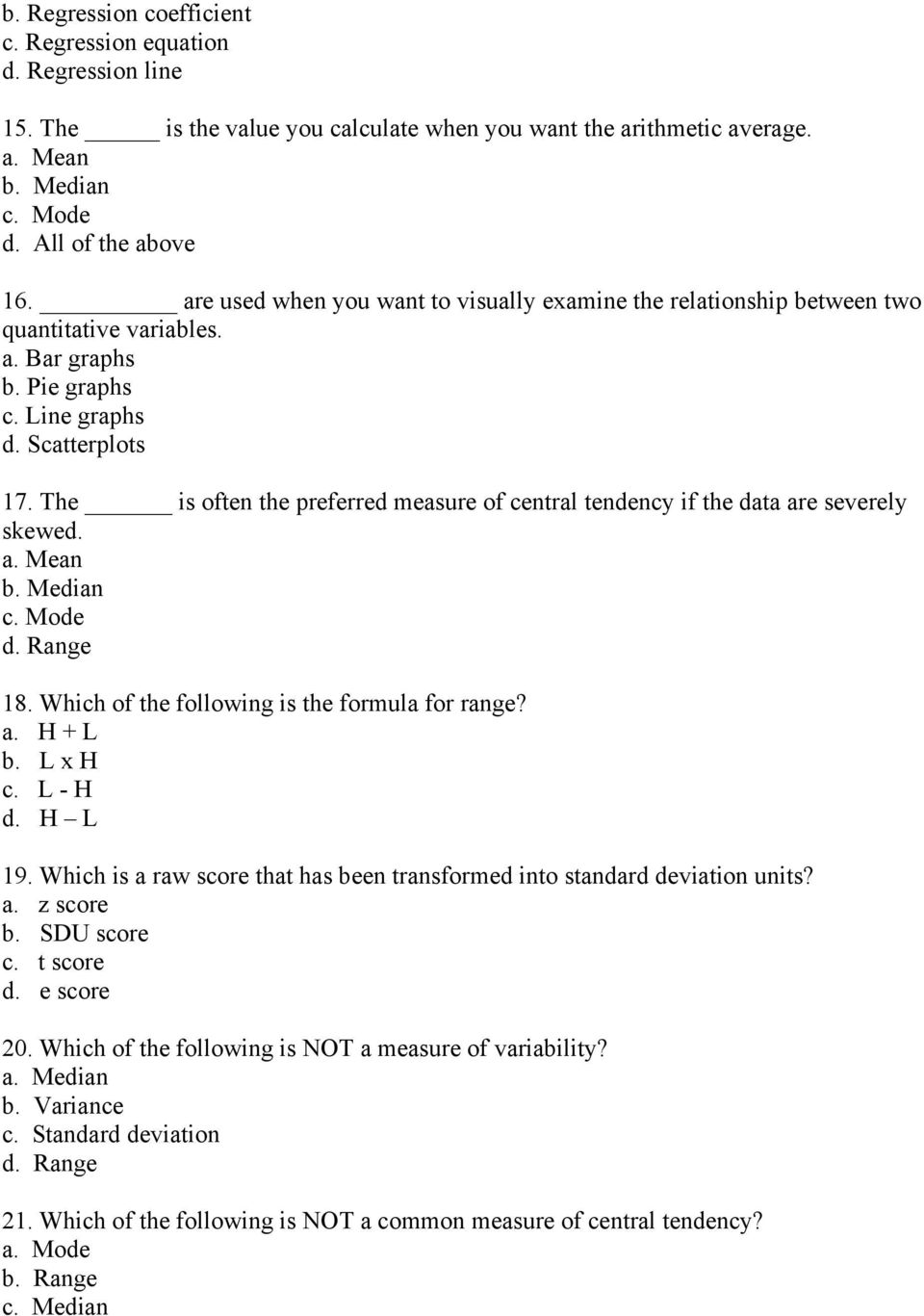 Chapter 15 Multiple Choice Questions (The answers are