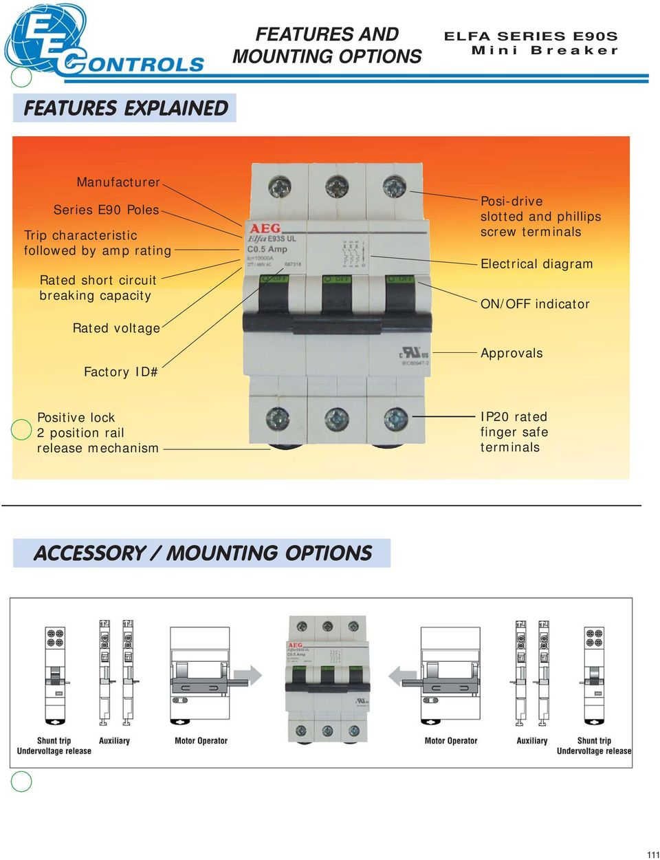 Elfa E90s Mini Breakers Pdf Aeg Motor Wiring Diagram Slotted And Phillips Screw Terminals Electrical On Off Indicator Approvals Positive Lock 2