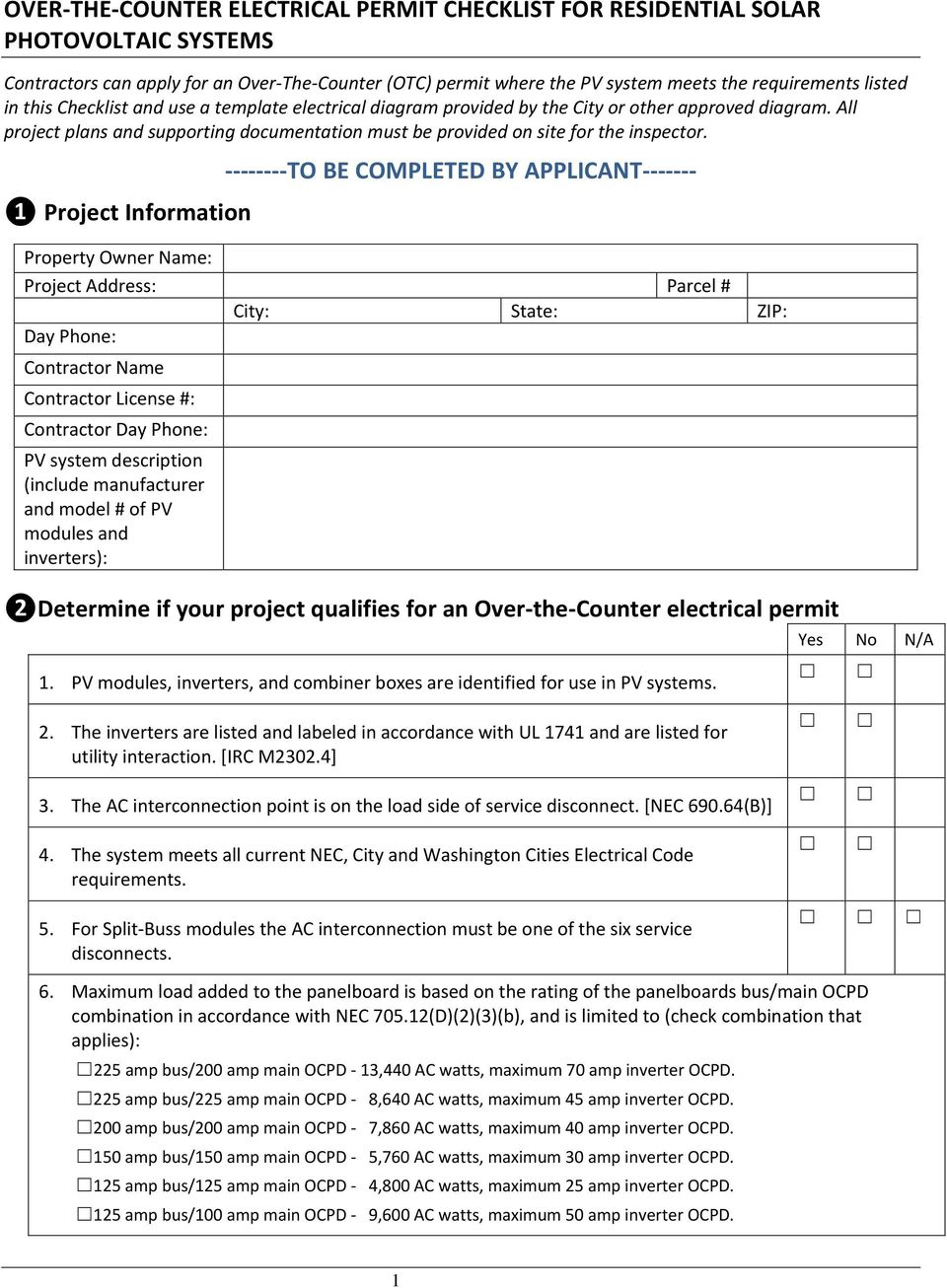 Over The Counter Electrical Permit Checklist For Residential Solar Wiring To Be Completed By Applicant Project Information Property Owner Name Address Parcel