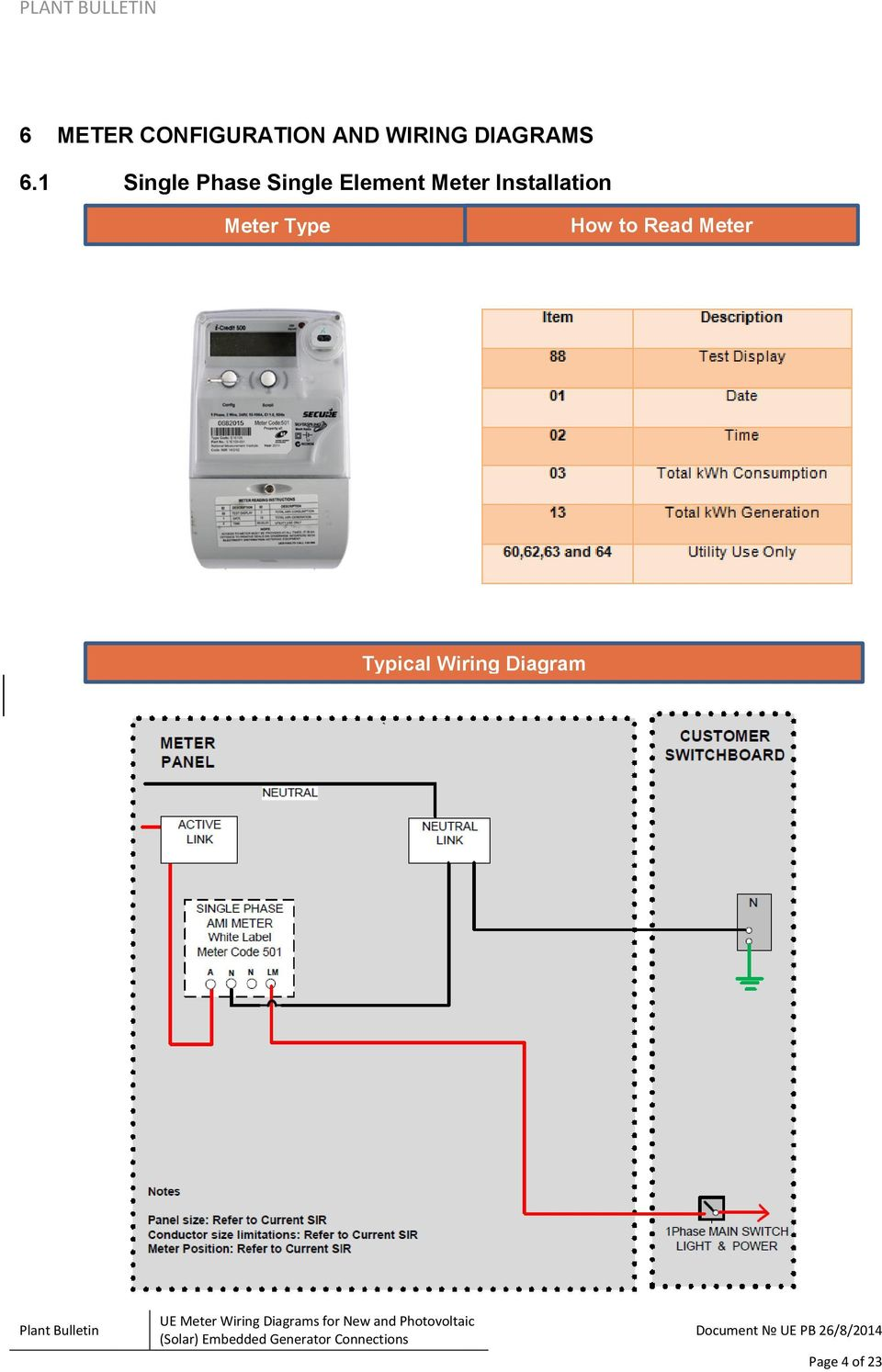 Ue Plant Bulletin Meter Wiring Diagrams For New And Photovoltaic Electric Diagram 1 Single Phase