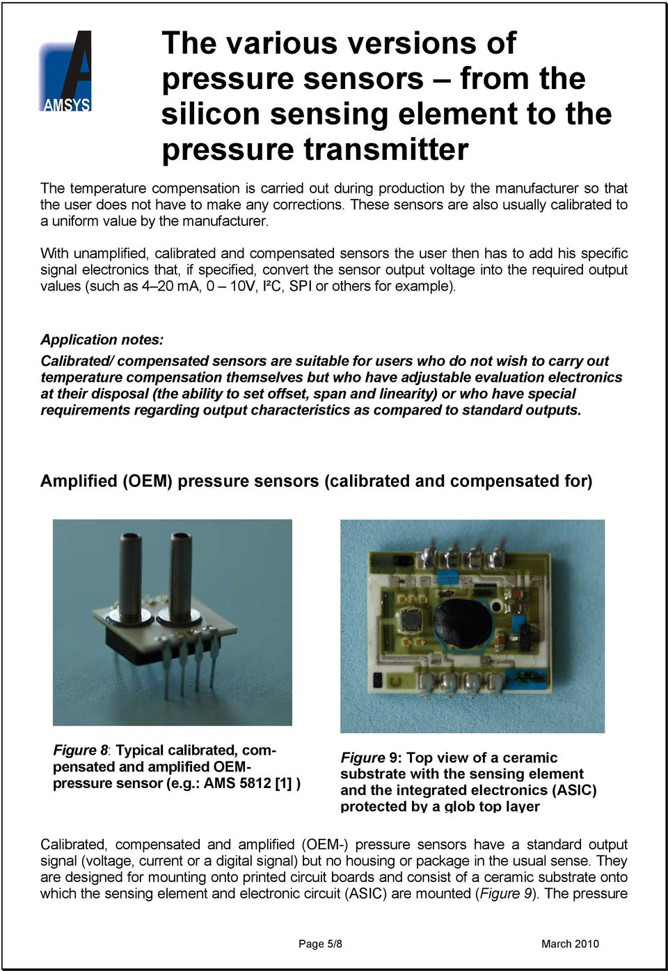 The Various Versions Of Pressure Sensors From Silicon Sensing Programmable Transducer Circuit With Unamplified Calibrated And Compensated User Then Has To Add His Specific Signal