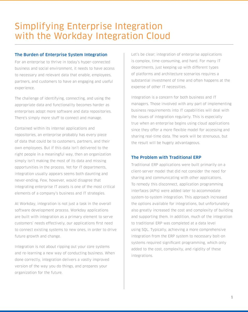Simplifying Enterprise Integration with the Workday Integration