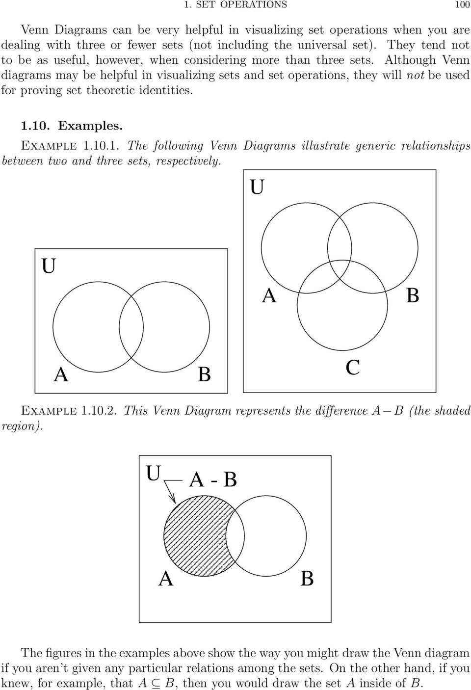 Although Venn diagrams may be helpful in visualizing sets and set operations, they will not be used for proving set theoretic identities. 1.