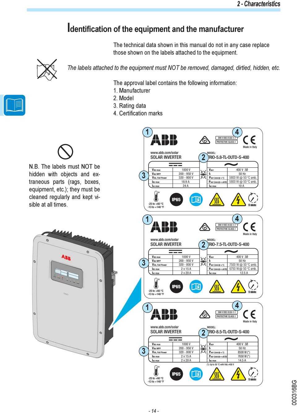 Abb Solar Inverters Product Manual Trio 58 75 85 Tl Outd To Garden Light Circuit Further 5000 Watt Power Inverter Schematic Certification Marks Nb The Labels Must Not Be Hidden With Objects And Extraneous Parts Rags