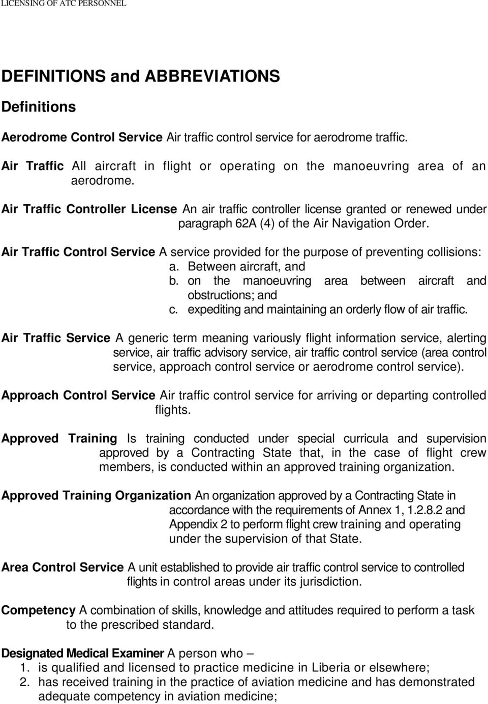 MANUAL OF STANDARDS- LICENSING OF AIR TRAFFIC CONTROL PERSONNEL - PDF