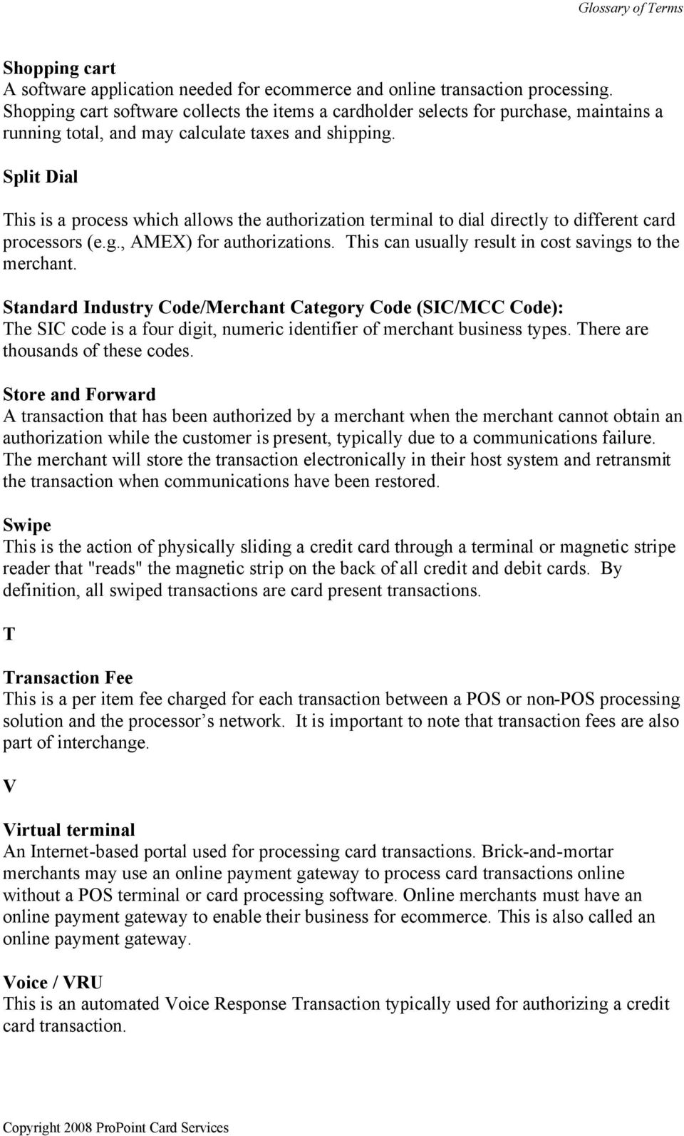 credit card processing glossary of terms - pdf