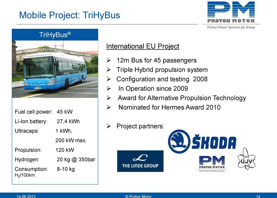 12m Bus for 45 passengers Triple Hybrid propulsion system Configuration and testing 2008 In Operation since