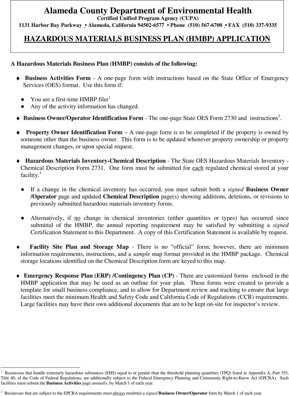 hazardous material business plan hmbp reporting requirements