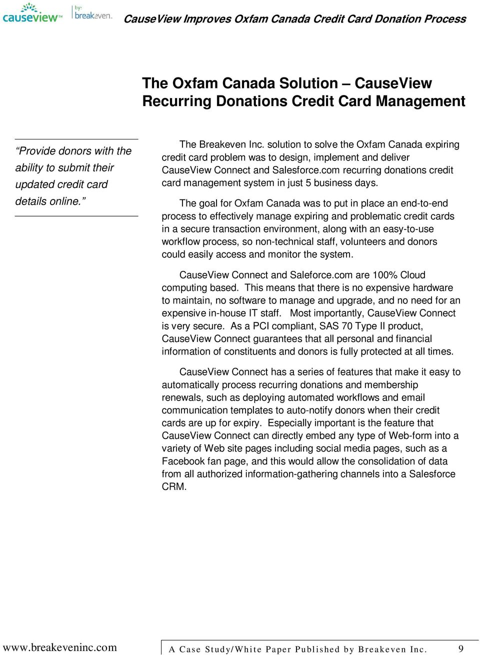 com recurring donations credit card management system in just 5 business days.