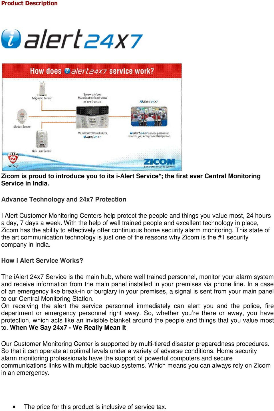 Home Alarm System Product Description Pdf Related Links More Circuit About Alert With The Help Of Well Trained People And Excellent Technology In Place Zicom Has