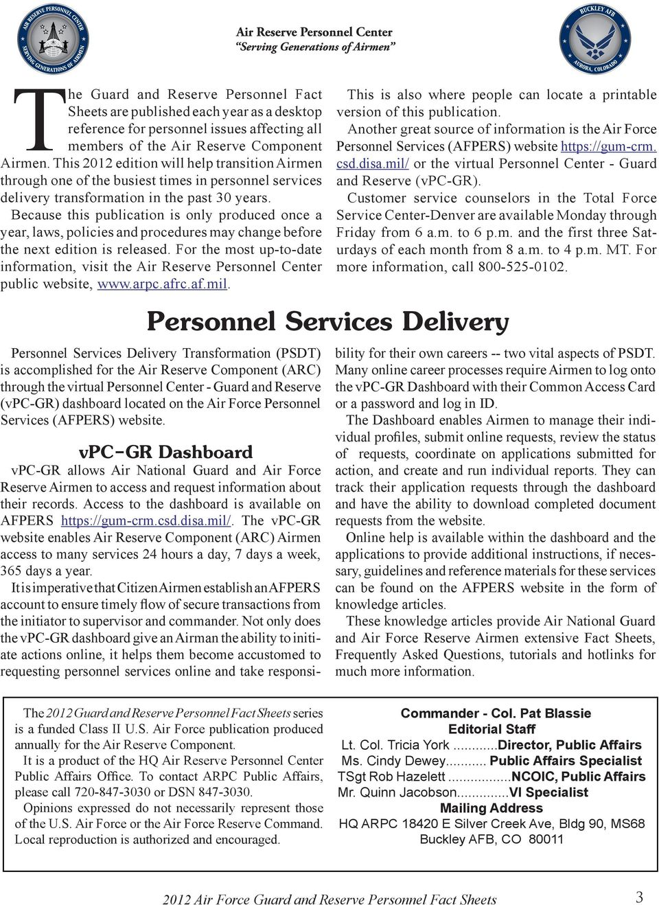 Table of Contents Air Force Guard and Reserve Personnel Fact