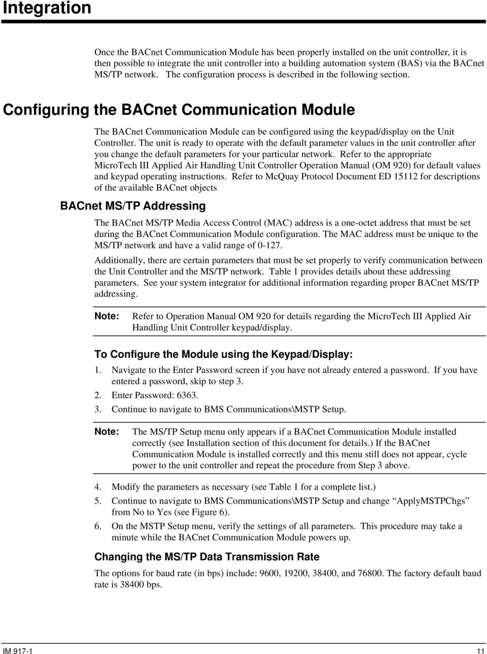 Microtech Iii Rooftop And Self Contained Unit Controller Bacnet Ms Tp Wiring Guide Configuring The Communication Module Can Be Configured Using Keypad