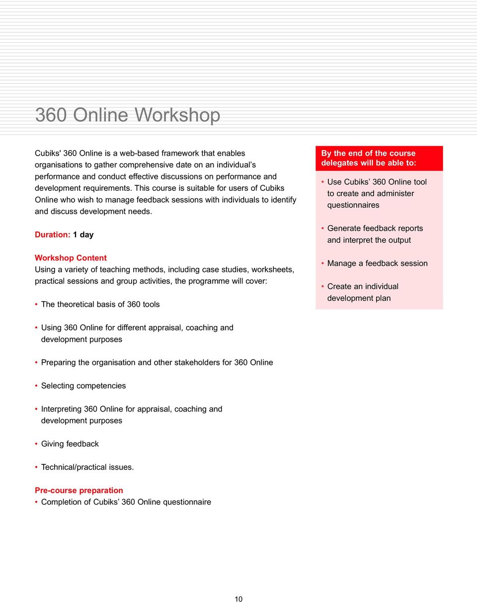 Duration: 1 day Workshop Content Using a variety of teaching methods, including case studies, worksheets, practical sessions and group activities, the programme will cover: The theoretical basis of