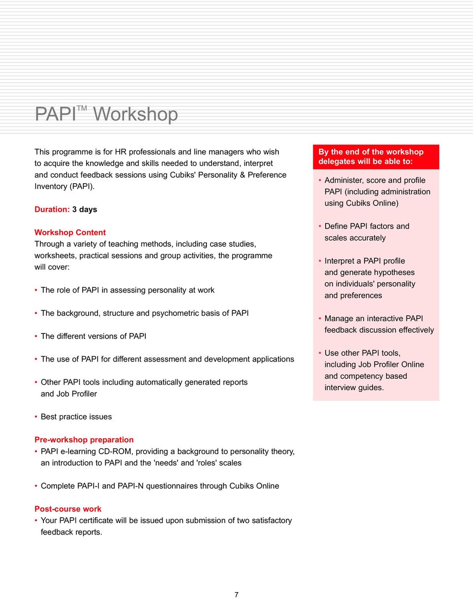 Duration: 3 days Workshop Content Through a variety of teaching methods, including case studies, worksheets, practical sessions and group activities, the programme will cover: The role of PAPI in
