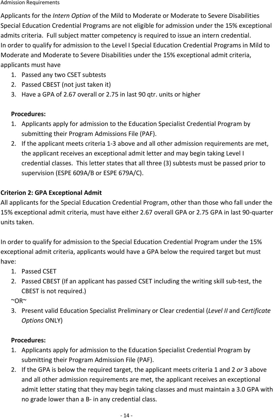Special Education Credential Program Admissions Booklet - PDF
