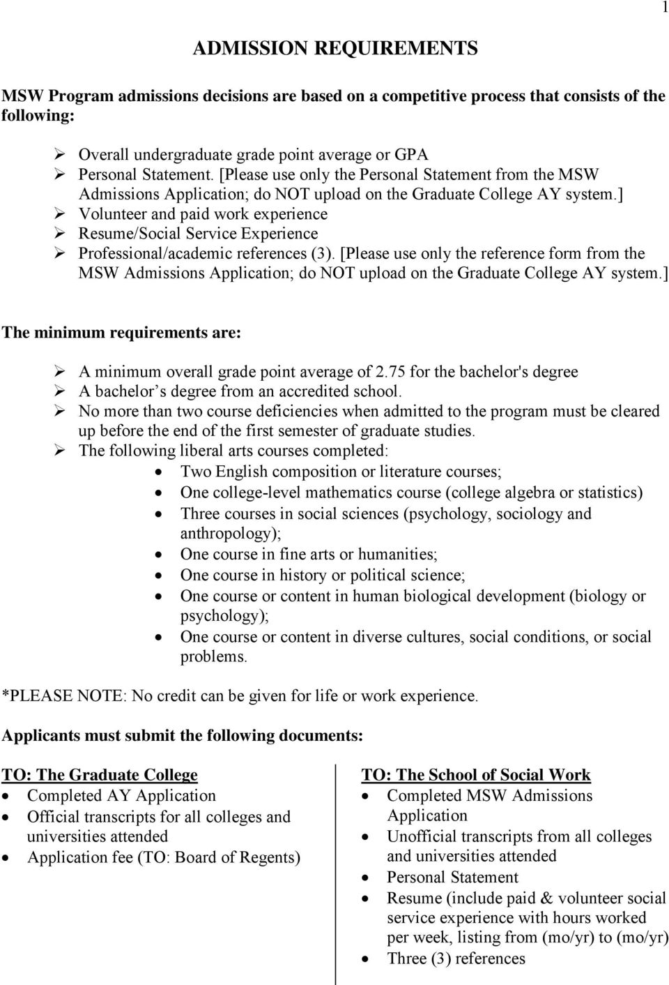 ] Volunteer and paid work experience Resume/Social Service Experience Professional/academic references (3).