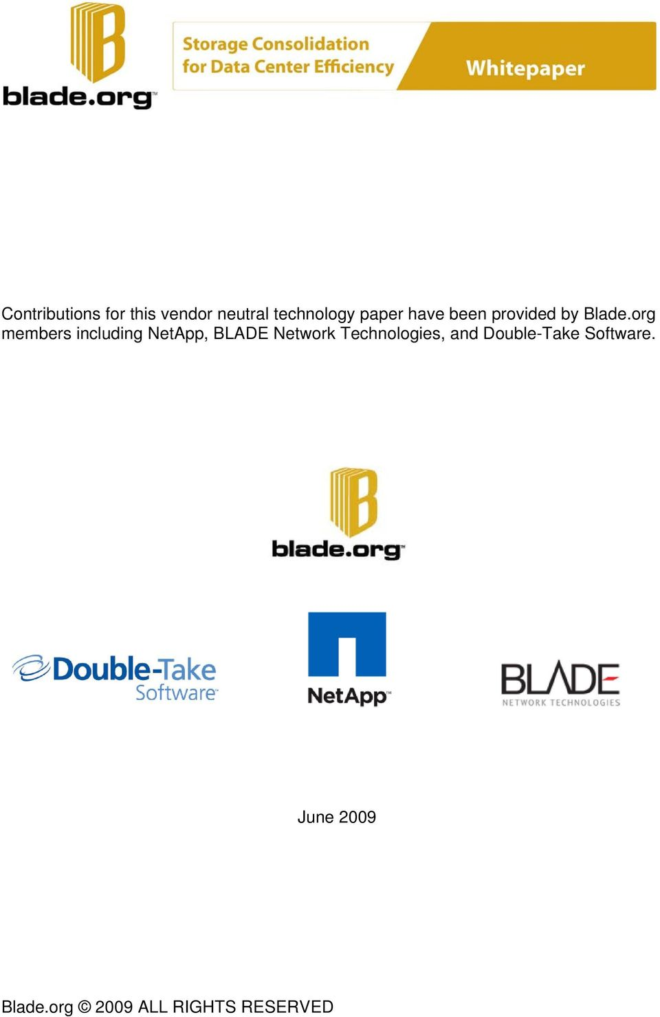 org members including NetApp, BLADE Network