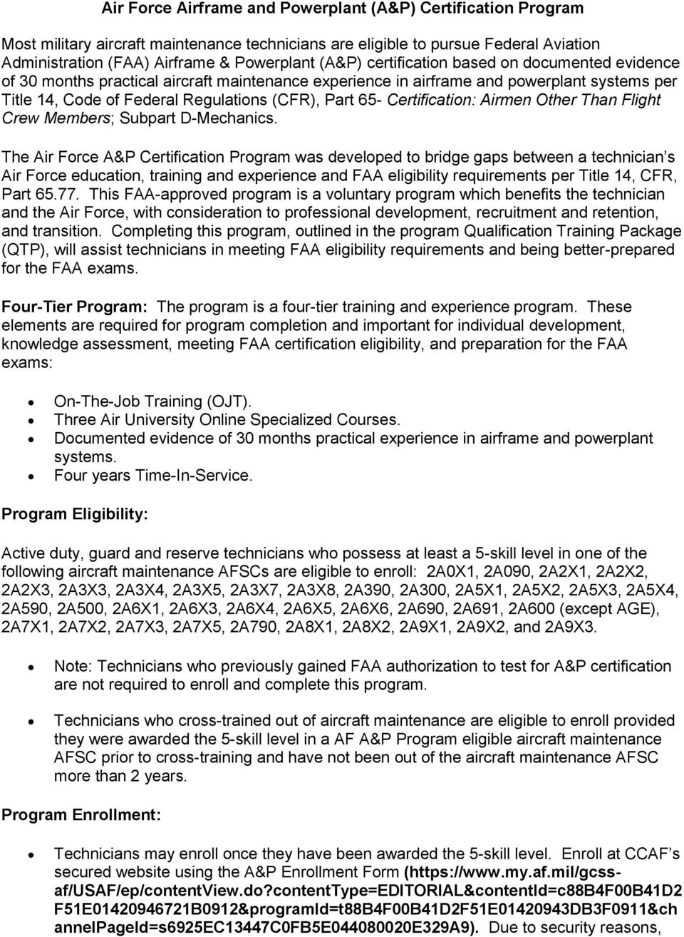Air Force Airframe and Powerplant (A&P) Certification