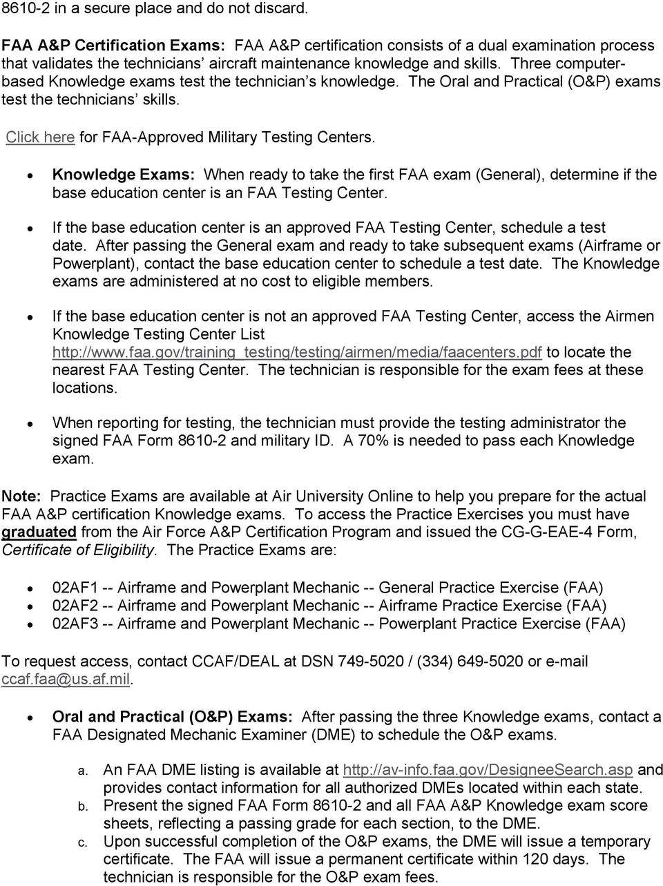 Air Force Airframe and Powerplant (A&P) Certification Program - PDF