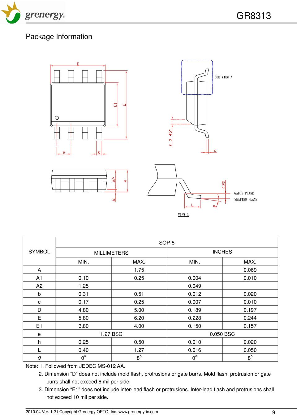 3 Channel Supervisor Ic For Power Supply Pdf Bass Boost Section Output Driver With Followed From Jedec Ms 012 Aa 2 Dimension D Does Not Include Mold